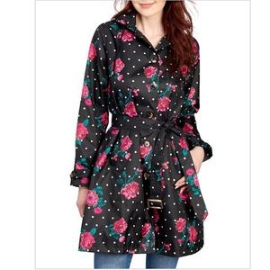 Rain jacket with roses and polka dots